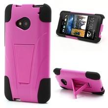 High Quality Kickstand Silicone & Plastic Defender Cover for HTC One M7 801e