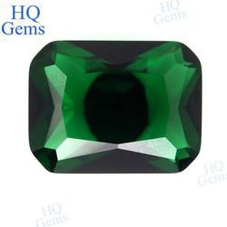 Precious Faceted Emerald Octagon Glass Stone
