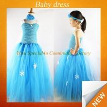 2015 wholesale crochet top handmade snowflake frozen kids fancy dress photos SFUBD-155