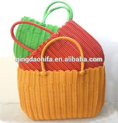 Qingdao HIFA 2015 HIFA new design ladies waterproof straw bag hot selling Bright color PP straw shopping bag