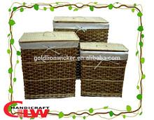 hamper boxes wholesale,gift hamper,Set of 3 willow & seagrass rectangular hamper baskets with lid