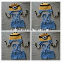 Hot despicable me minion mascot costume,100%handmade crochet child minion costume,knit infant photography props costume set