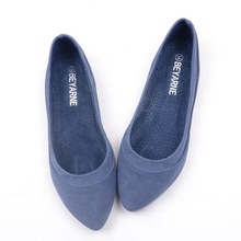 Pure color flat single shoes lighter gourd ladle pointed boat shoes for women's shoes big yards blue