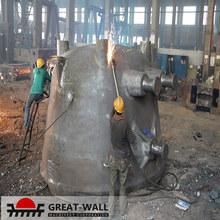 Large cast cinder ladle for steel industry