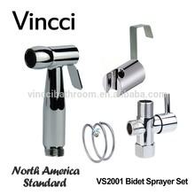 VINCCI North American Standard Bidet Set with Brass T-Adapter & ABS Holder Stainless Steel Bidet Faucet