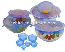 Silicone Cooking / Food Storage Lids and Bowl Covers,Silicone Stretch Lid Set of 6