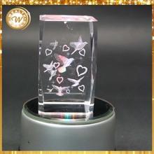 customized 3d laser animal crystal cube