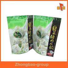 standing up food grade nylon frozen dumplings food packaging bag with zipper