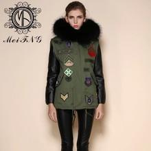 Alta moda de la marina de guerra del estilo del ejército informal abrigo de piel de zorro venta
