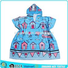 100% Cotton fiber reactive printed blue sky children hooded bath towel velour cloth children hooded bath towel