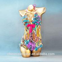 Hot sale women white sexy Mosaic beautiful Crystal bikini swimwear swimsuit top quality
