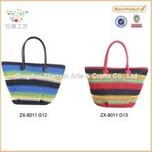 2015 Ladies promotional paper string straw beach bag Paper straw crochet beach bag