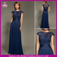 SD1418 Long chiffon lace top royal blue model kebaya bridemaids dress with short sleeve