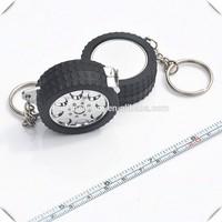 New Design custom tire shape unusual wheel keyrings with mini steel tape measure