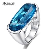 wedding ring moroccan with big elliptical ocean blue stone