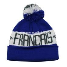 Acrylic Jacquard Knit Francais Pom Pom Hat Beanie