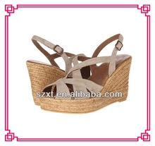 China wholesale shoes hemp rope wedge heel woman sandal for 2015