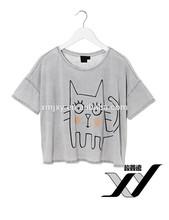 2015 newest design Women's brief paragraph hand-painted cat pattern round collar short sleeve T-shirt