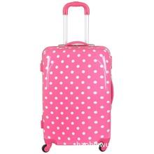 Cute Pink Polka Dot Girls Travel Suitcase , Girls Wheeled Custom Trolley