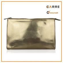 gold PU leather metallic cosmetic bag