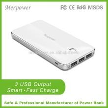 New design innovative triple USB output emergency travel charger smart powerbank 10000mah