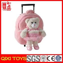 Kids plush toy school trolley bag for girls
