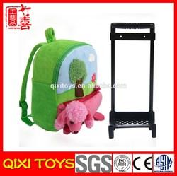 Plush toy school kids trolley bag