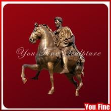 Cast mental man bronze man with horse statue