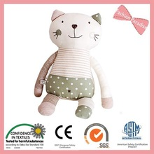 New organic cotton baby cat and monkey toys, baby cute and lovely animal toys BT03