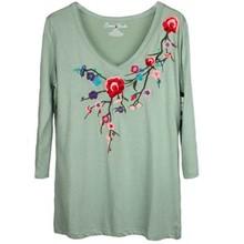 Custom 2015 flower embroidered 1/2 sleeves V neck modal T shirt women