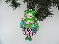 Wowen frog glass ornament take a fruit juice
