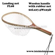 rubber bag wooden fly fishing landing net