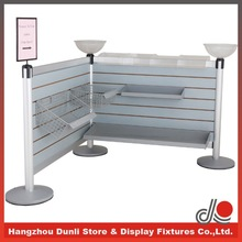Supermarket display stand queue management system with slatwall/aluminum post/E1 grade MDF board