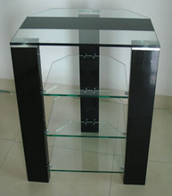 TV STAND WITH PU HIGH GLOOSY PAINT AND CLEAR TEMPERED GLASS