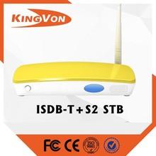 digital set top box hybrid format DVB-T2+ISDB-T support free sample