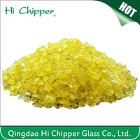 Terrazzo flooring decorative yellow colored glass chips for artificial stone
