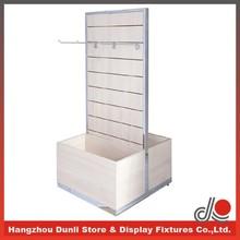 Double sided wooden slatwall belt display fixture/ belt display rack/ leather belt display stand