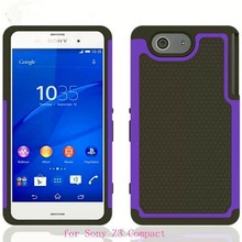 Hybrid combo case for Sony Z3 Compact with ball textured, for Sony Z3 Compact hard case