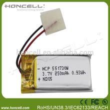 551730 lipo battery 3.7v 250mah li-ion pouch cell li ion battery cell