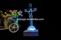 plastic clear Jesus on the cross religious figurine Easter decor
