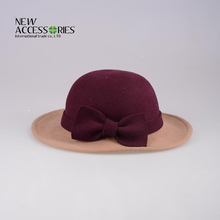 girls noble wool felt hats with bowknot