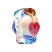 Wholesale Valentine Love Hearts Murano Glass Bead with 925 Sterling Silver Tube For European Bracelets