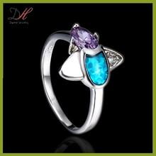 Daihe RN4808 latest designs natural blue sapphire 925 silver diamond ring for girls