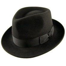 Black mens felt fedora jazz blues brothers hat Cosplay Hat QHAT-2245