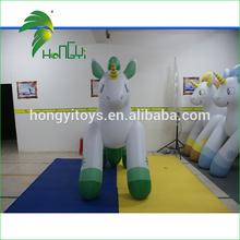 Using overlapping and ultrasonic welding green inflatable unicorn