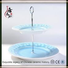 2-tier ceramic cake serving plate