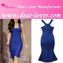 Fashion Wide Straps elegant women royal blue plus size cocktail dress