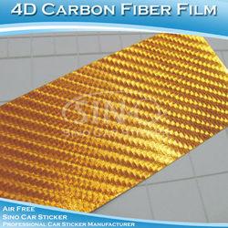 A1601 1.52x30m Gold 4D Chrome Carbon Fiber Car Trim Car Wrap Shop