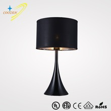 GZ60001-1T UL Approved Hotel Table Lamp modern black desk lamp fabric shade resin table light