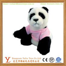 Cute panda plush toy with T-shirt